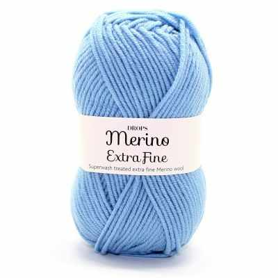 Пряжа DROPS Merino Extra Fine Цвет.19 Light grey blue/св.сер.синий